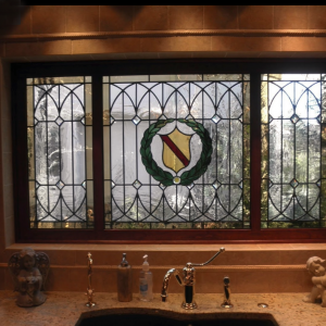 Kitchen Window Custom Stained Glass Design Installation with Family Crest